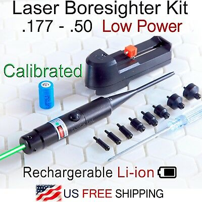 Low Power 2mW Green Laser Boresighter Kit 177-.50 Caliber Li-ion Battery Charger