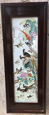 Large Chinese Framed Porcelain Painted Panel