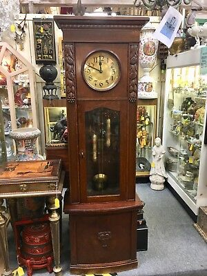 Wonderful  Arts And Crafts Style Urgos  Oak Grandfather Clock