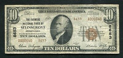 1929 $10 Tyii The Farmers Nb Of Selinsgrove, Pa National Currency Ch. #8653