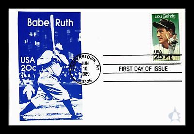 Dr Jim Stamps Us Babe Ruth Postcard Lou Gehrig Baseball First Day Of Issue