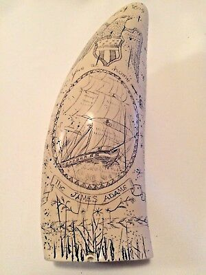 Scrimshaw Reproduction~The James Adams~Tooth~Ship Sea Captain~Eagle Nautical