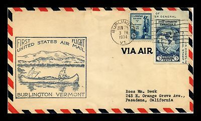 Dr Jim Stamps Us Burlington Vermont First Flight Air Mail Cover 1934