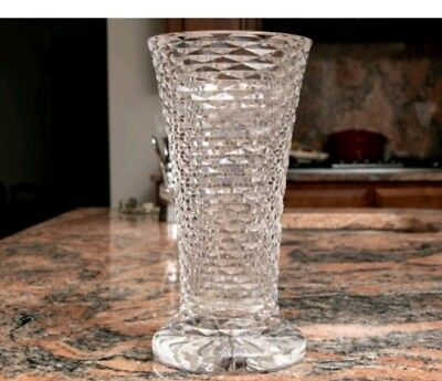 """Cricklewood Heritage Irish 9"""" Tall Footed Fine Crystal Vase Mouth-Blown,Hand-Cut"""