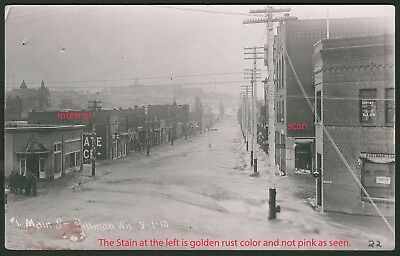 Photo Postcard, RPPC  Main Street View, Flood,Buildings, Pullman,Washington,1910