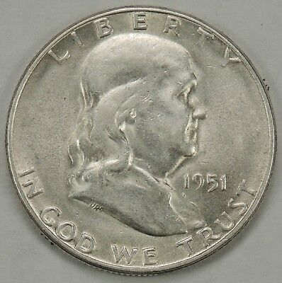 1951-S 50C Franklin Silver Half Dollar As Pictured  (011619)