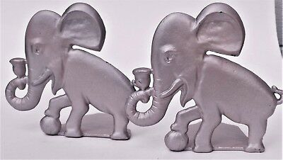 Antique 1940's Vintage Decorative Dumbo Silver Metal Elephants Bookends Shelf