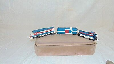Vintage N Scale Red White And Blue Train Engine Box Car And Caboose