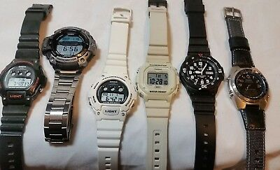 LOT OF 6 MEN'S CASIO WATCHES ILluminator