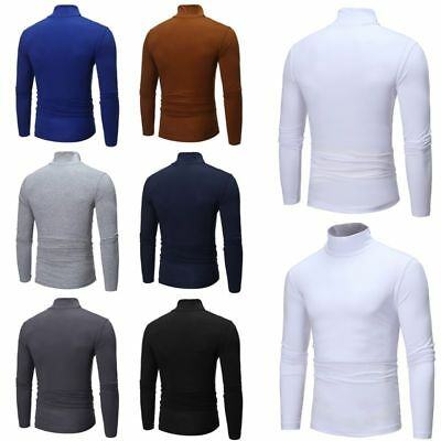 Fashion Mens Slim Knitted Warm Roll Turtle Neck Pullover Sweater Jumper Top AU