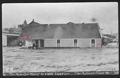 Old Photo Postcard, RPPC,The Palm Cafe Moved by Flood, Pullman,Washington, 1910