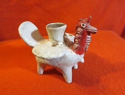 Antique Mexican Hand Painted Altar Candle Holder - Chicken (Circa 1900-1930)
