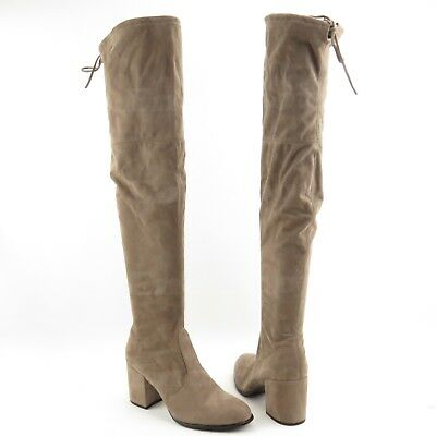 edb7b438a81 STEVE MADDEN SLAYER Women s Tan Fabric Over the Knee Boots Size 11 ...