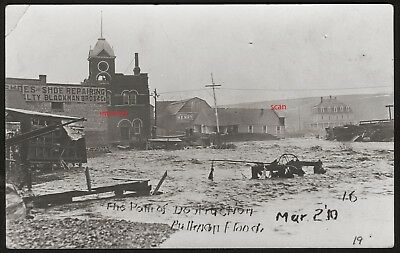 Old Photo Postcard,RPPC ,Flooded Town, Businesses,Flood,Pullman,Washington,1910