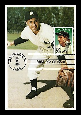 Dr Jim Stamps Us Lou Gehrig Baseball Fdc Phil Rizzuto Info Card New York Yankees
