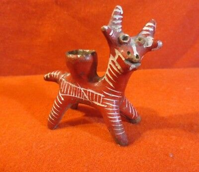 Antique Mexican Hand Painted Altar Candle Holder - Deer (Circa 1900-1930)