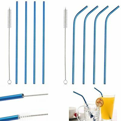 Blue Stainless Steel Metal Drinking Straw Straws Reusable Washable + Brush CE