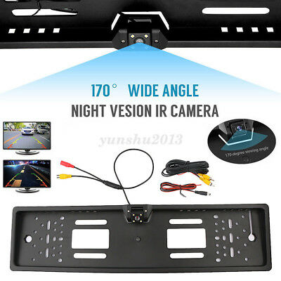 170° Car Rear View HD Camera Back Up Parking Plate LED Night Vision For Euro Car
