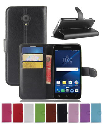 Leather slot wallet stand flip Cover Skin Case For Alcatel Raven LTE A574BL