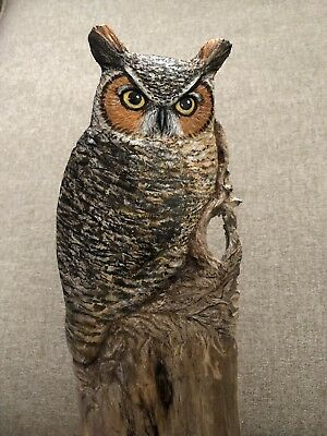 WOOD Carved Great Horned Owl Lisa Rogers Carving