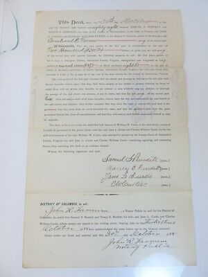 1888 Antique Property Deed Washington, DC for Carlin Springs Co-op Assoc.