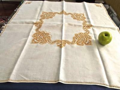 """Antique Pure Italian Linen 32"""" Tea Tablecloth Assisi Sunflower Yellow Embroidery"""