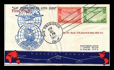 Dr Jim Stamps Us San Francisco Fam 14 First Flight Air Mail Cover Hong Kong