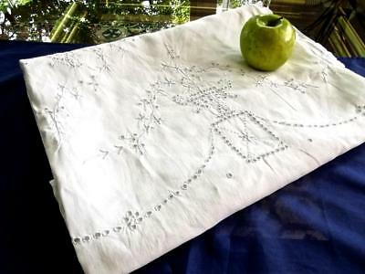 Antique Pure White Linen 68x84 Tablecloth FAB Madeira Embroidered Bridal Baskets