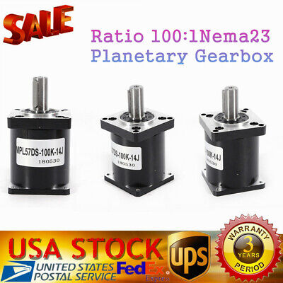 Planetary Gearbox Ratio 100:1 57mm Flange Nema23 Geared Stepper Reducer Metal