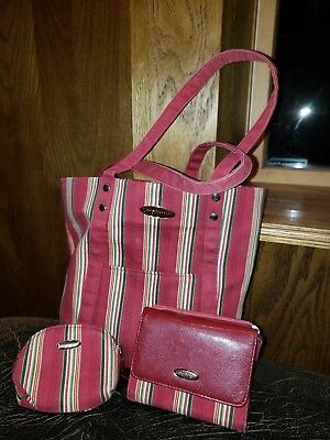 Longaberger Holiday Stripe Tote Purse And Wallet Set
