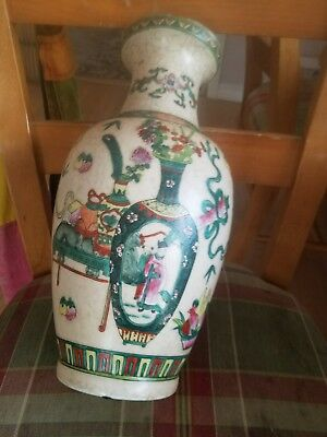 LARGE Antique Chinese Famille Rose Porcelain hand painted vase. one small flaw.