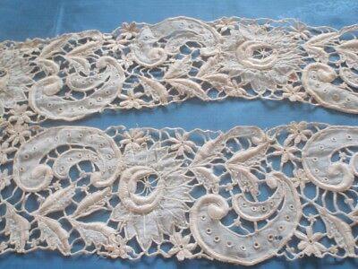 Antique Gros Point Lace - Two Long Pieces