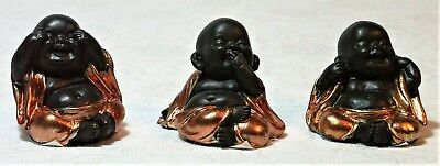 3 Wise Buddhas SEE HEAR & SPEAK NO EVIL miniature figurine in Copper Robes NEW