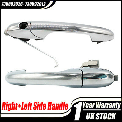 Right+Left Driver Side Chrome Outer Door Handle 735592012 For Fiat 500 Offside