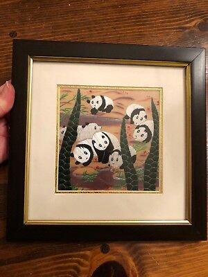 100% Silk Picture Of Pandas Done In Needlework Asian