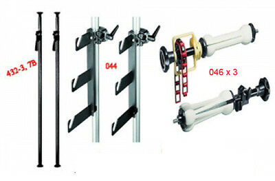 Manfrotto background system. Auto-poles,triple hooks and three expan sets