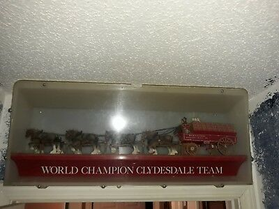 "Vintage - Team Box Budweiser Beer Clydesdale Horses and Wagon - (32"" x 14"" X 7"")"