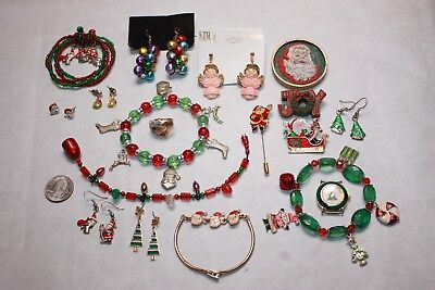 18 Item Vintage To Now Christmas Jewelry Lot-Earrings, Brooches & Bracelets