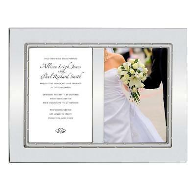 """NEW Lenox Devotion Double Invitation Photo Frame, Holds two 5""""x7"""" Silver plate"""