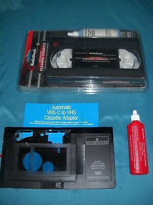 Radio Shack VHS-C to VHS Cassette ADAPTER TAPE Converter 16-2031 & Cleaning Tape