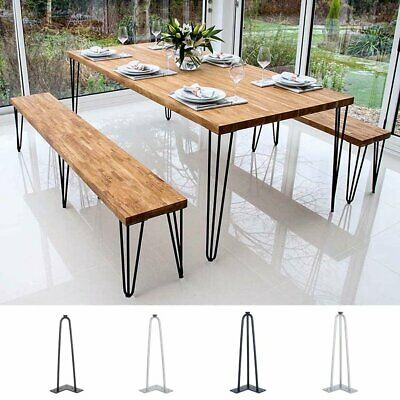 4X Hairpin Table Legs Size 14 Inch 10mm with Free Floor Protector Feet UK Stock
