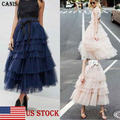 2267d7f175c US Women Tulle Long Maxi Skirt Layered Swing High Waist Casual Ruffles Loose  New
