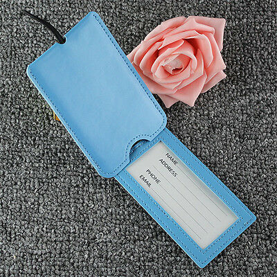 1x Creative PU Luggage Tags With Cover Air Plane Travel Tags Suitcase Label Card