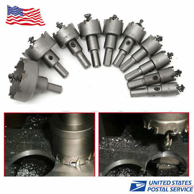 10Pc Carbide Tip TCT Hole Saw Cutter Drill Bit Set For Steel Metal Alloy 16-50mm