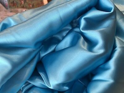 Bright Aqua Blue Satin Silky Soft Polyester fabric, 150cm wide, by the metre