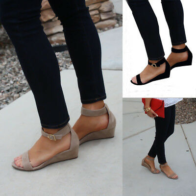 Roman Women Flat Wedge Sandals Low Heels Ankle Strap Buckle Gladaitor Shoes Size