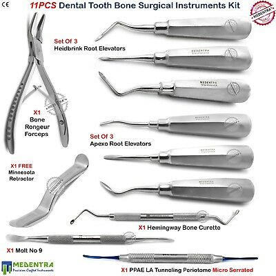 Dental Bone Surgical Kit Forceps Tooth Extraction Root Elevators Curette PPAELA
