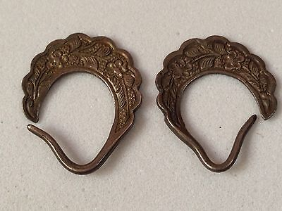 Straits Chinese Peranakan Silver Ear Rings Late 19th Century FREE SHIPPING