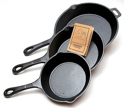 Old Mountain Cast Iron 3 pc  Skillet Set  Pre-Seasoned Cookware #10100