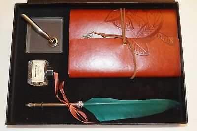 A Vintage Style Calligraphy Feather Quill Metal Nib Dip Pen Holder Journal Set